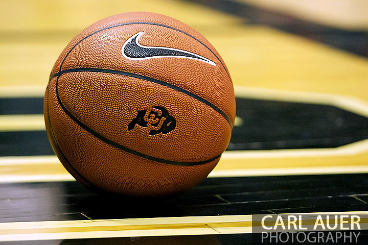 January 12th, 2013: The Nike game ball used at the University of Colorado sits on the baseline during a time out in first half action of the NCAA basketball game between the UCLA Bruins and the University of Colorado Buffaloes at the Coors Events Center in Boulder CO