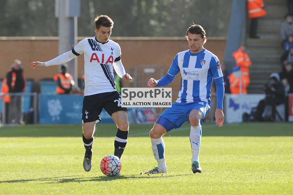 Colchesters Alex Gilbey and Tottenhams Tom Carroll in action during the Colchester v Tottenham game in the FA Cup 4th Round on the 30th January 2016.