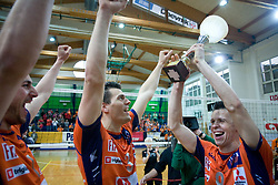 Mitja Gasparini, Davor Cebron and Matija Plesko at last final volleyball match between OK ACH Volley and Salonit Anhovo, on April 21, 2009, in Arena SGS Radovljica, Slovenia. ACH Volley won the match 3:0 and became Slovenian Champion. (Photo by Vid Ponikvar / Sportida)