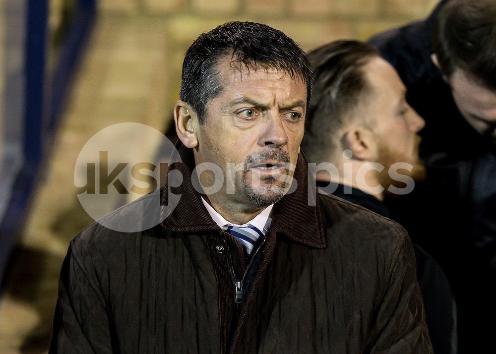 Southend Utd Manager Phil Brown during the Sky Bet League 2 match between Southend United and Burton Albion at Roots Hall, Southend, England on 19 December 2014. Photo by Liam McAvoy.