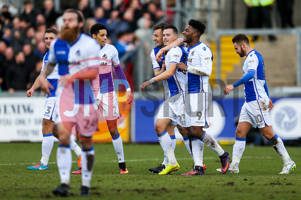 Billy Bodin of Bristol Rovers celebrates scoring a goal to make it 1-0 - Rogan Thomson/JMP - 28/01/2017 - FOOTBALL - Memorial Stadium - Bristol, England - Bristol Rovers v Swindon Town - Sky Bet League One.
