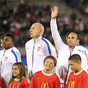 Landon Donovan, USA, during pre match presentations before his farewell match during the USA Vs Ecuador International match at Rentschler Field, Hartford, Connecticut. USA. 10th October 2014. Photo Tim Clayton