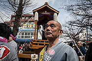 Kanamara Matsuri Festival: April 2, 2017, Kawasaki, Japan: The Kanamara Matsuri is held each first Sunday of April at the Kanayama shrine in Kawasaki, Japan. After the lighting of the sacred flame at the shrine, a huge pink phallus-shaped mikoshi altar is carried around the city during a procession. The penis, central theme of the event, is reflected in illustrations, candy, carved vegetables and decorations. There is also a museum near the shrine with a cast-iron sculpture of a vagina and a pair of legs. Visitors can purchase small penis-shaped souvenirs and rub it on the sculpture for good luck. Originally the Kanamara Matsuri was centered around a local penis-venerating shrine once popular among prostitutes who wished to pray for protection from sexually transmitted diseases. It is said that there are also divine protections for business prosperity, easy delivery, and marriage harmony. Today, the festival has become something of a tourist attraction, with thousands of people joyning from all over the world, and is used to raise money for HIV research. 02/04/2017-Kawasaki, JAPAN