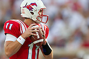 DALLAS, TX - AUGUST 30: Garrett Gilbert #11 of the SMU Mustangs throws a pass against the Texas Tech Red Raiders on August 30, 2013 at Gerald J. Ford Stadium in Dallas, Texas.  (Photo by Cooper Neill/Getty Images) *** Local Caption *** Garrett Gilbert