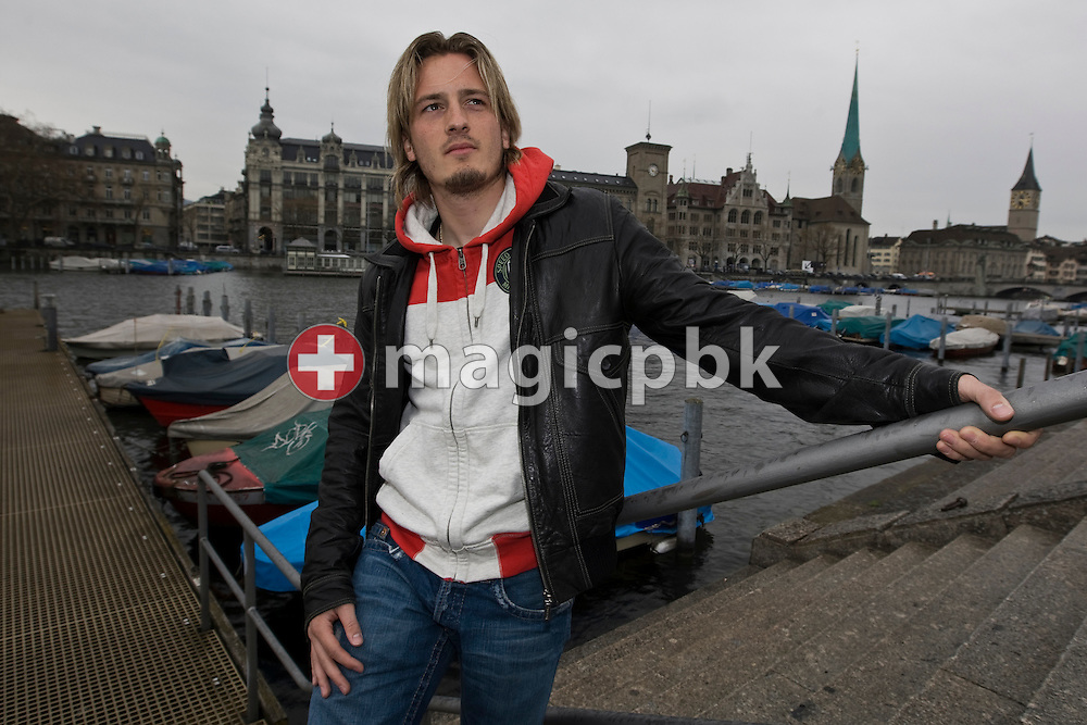 FC Aarau's soccer player Jonas ELMER is pictured during a photo session on the right bank of the river Limmat in Zurich, Switzerland, Wednesday, April 14, 2010. (Photo by Patrick B. Kraemer / MAGICPBK)