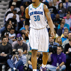 February 1, 2011; New Orleans, LA, USA; New Orleans Hornets power forward David West (30) against the Washington Wizards during the second half at the New Orleans Arena. The Hornets defeated the Wizards 97-89.  Mandatory Credit: Derick E. Hingle