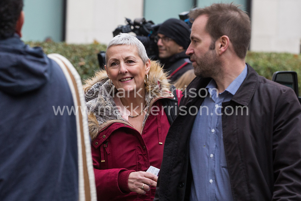 London, UK. 16 November, 2019. Jennie Formby, General Secretary of the Labour Party, arrives at Labour's Clause V meeting. The Clause V meeting, chaired by the party leader and attended by members of the National Executive Committee (NEC), relevant Shadow Cabinet members and members of the National Policy Forum, will finalise the party's general election manifesto. The meeting is named after Clause V of the Labour Party rulebook.