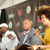 Jazz in the Gardens 2016. Thursday Press Conference.<br /> R to L<br /> Kayla James, Mayor Oliver Gilbert, Ricky Smiley