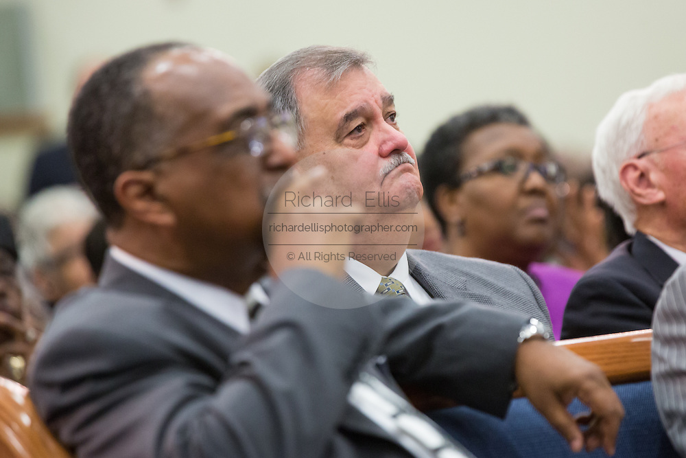North Charleston Police Chief Eddie Driggers during a healing service at Charity Missionary Baptist Church April 12, 2015 in North Charleston, South Carolina. Sharpton spoke following the recent fatal shooting of unarmed motorist Walter Scott police and thanked the Mayor and Police Chief for doing the right thing in charging the officer with murder.