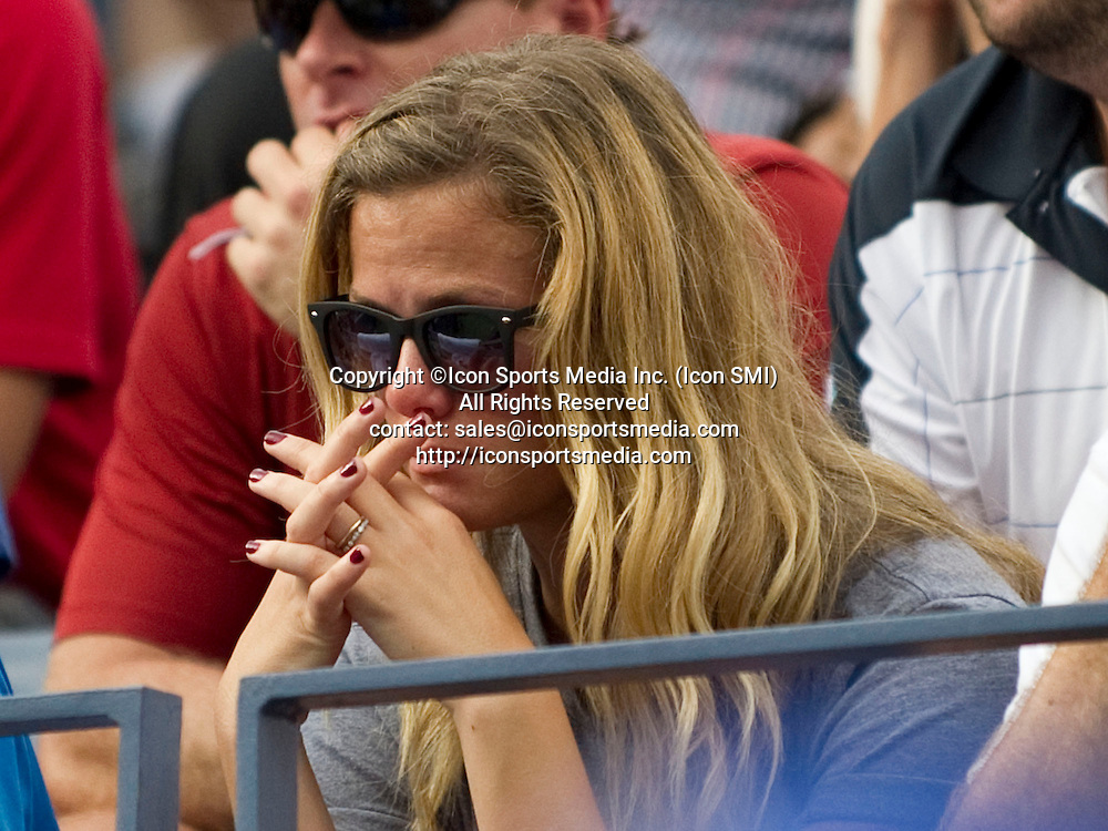 September 05, 2012: Brooklyn Decker watching husband Andy Roddick in his last match at the US Open tennis tournament at the Billie Jean King National Tennis Center in Flushing, NY.