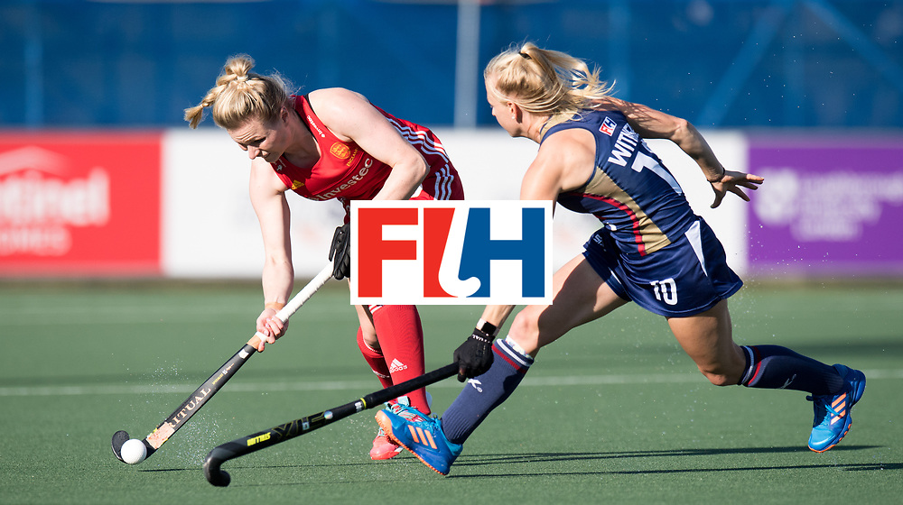 AUCKLAND - Sentinel Hockey World League final women<br /> Match id: 10304<br /> 15 USA v ENG (QF)<br /> Foto: Hollie Pearne-Webb and Jill Witmer.<br /> WORLDSPORTPICS COPYRIGHT FRANK UIJLENBROEK