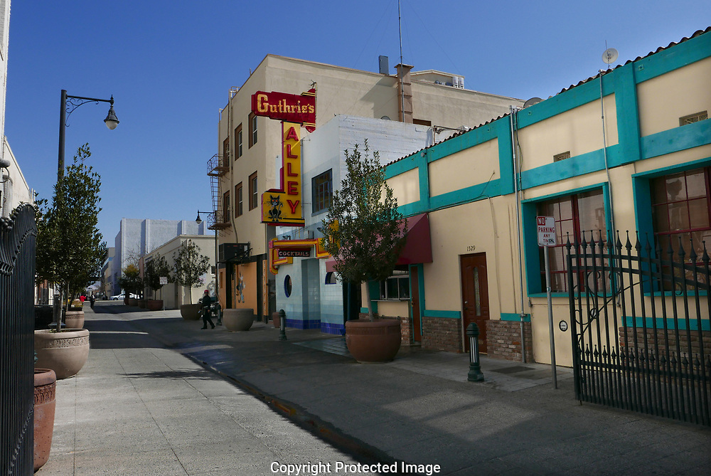 A popular restaurant alley in the restored sections of Bakersfield , CA.  Photo by Dennis Brack