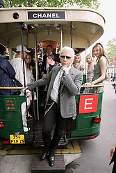 German fashion designer Karl Lagerfeld attends the Croisiere 2005-2006 collection presentation for French fashion house Chanel in Paris, France on May 17, 2005. Photo by Laurent Zabulon/ABACA.