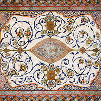 A dazzling painted tapestry on the ceiling at the 13th century Sheki Khan palace in Sheki, Azerbaijan.