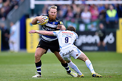 Ross Batty of Bath Rugby is tackled by Will Chudley of Exeter Chiefs - Mandatory byline: Patrick Khachfe/JMP - 07966 386802 - 17/10/2015 - RUGBY UNION - The Recreation Ground - Bath, England - Bath Rugby v Exeter Chiefs - Aviva Premiership.