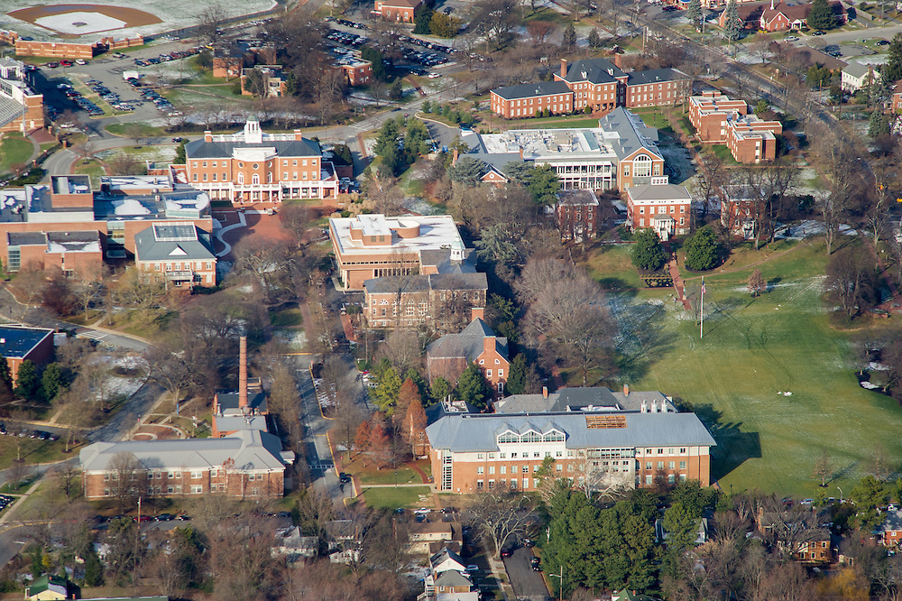 Aerial image of the upper eastern shore of Maryland, showing Washington College in Chestertown, Maryland