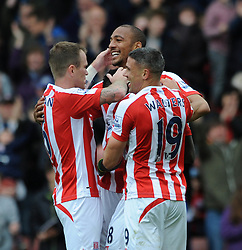 Stoke City's Steven N'Zonzi celebrates his goal with team mates - Photo mandatory by-line: Dougie Allward/JMP - Mobile: 07966 386802 - 09/05/2015 - SPORT - Football - Stoke - Britannia Stadium<br />  - Stoke v Tottenham Hotspur - Barclays Premier League