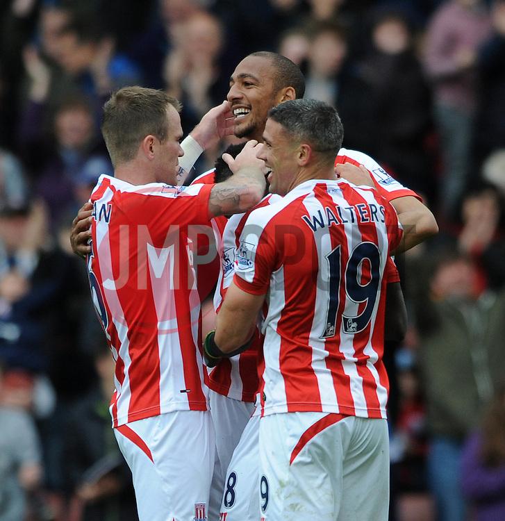 Stoke City's Steven N'Zonzi celebrates his goal with team mates - Photo mandatory by-line: Dougie Allward/JMP - Mobile: 07966 386802 - 09/05/2015 - SPORT - Football - Stoke - Britannia Stadium<br />  - Stoke v Tottenham Hotspur - Barclays Premier League