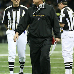 2007 December, 2: New Orleans Saints Head Coach Sean Payton argues with officials on the sideline during a 27-23 win by the Tampa Bay Buccaneers over the New Orleans Saints at the Louisiana Superdome in New Orleans, LA.