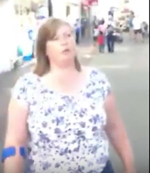 &copy; Licensed to UK  News in  Pictures. Ryde Isle of Wight Tuesday 11th July 2017A video of an altercation in Ryde High Street after an older man is accused of using the N word has gone viral, video viewed over half a million in a day.<br /> <br /> Police have confirmed they&rsquo;re investigating the incident after receiving a report of a public order incident just after 5pm on Monday afternoon.<br /> <br /> Video posted to Facebook<br /> It&rsquo;s not known what happened prior to the video being shot, but it was posted to Facebook and shows the older man&rsquo;s partner get off her mobility scooter to try and grab the cameraman&rsquo;s phone in order to delete what she refers to as &ldquo;the evidence&rdquo;.<br /> <br /> She then strides up and down the High Street following him whilst he is filming her and accuses the cameraman of assaulting her, adding &ldquo;I can do this all day&rdquo; when he comments on how much walking she has done.<br /> <br /> Admitting that her partner called his friend by the N-word, she continues to attempt to grab his phone &ndash; saying to passersby &ldquo;he keeps beating me up&rdquo;.<br /> <br /> Raced towards shoppers<br /> After several minutes of this, she returns to her mobility scooter and then races towards the man (and other shoppers) saying, &ldquo;Oh what, you chicken now?&rdquo;<br /> <br /> The woman then tells the man filming he is &ldquo;such a pansy&rdquo; and ask whether he is gay.<br /> <br /> The footage ends after the cameraman and his friend leave the scene.<br /> <br /> Police have confirmed the matter is under investigation. :https://youtu.be/wguq7cfG0vs&copy;UKNIPPhoto credit:UKNIP