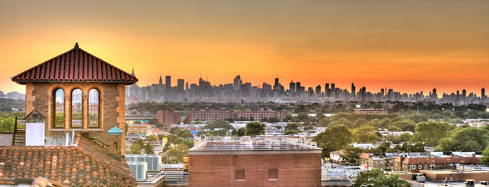"I made this panoramic of Manhattan at the end of the day. I was on top of a building called ""The Towers"" in the historic neighborhood of Jackson Heights Queens."