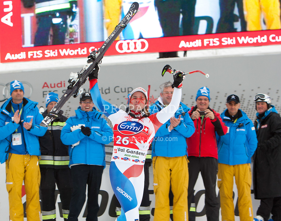16.12.2011, Saslong, Groeden, ITA, FIS Weltcup Ski Alpin, Herren, Super G, Podium, im Bild Beat Feuz (SUI, Rang 1) // 1st place Beat Feuz of Swiss on Podium men's super G at FIS Ski Alpine Worldcup at Saslong in Groeden, Italy on 2011/12/16. EXPA Pictures © 2011, PhotoCredit: EXPA/ Johann Groder