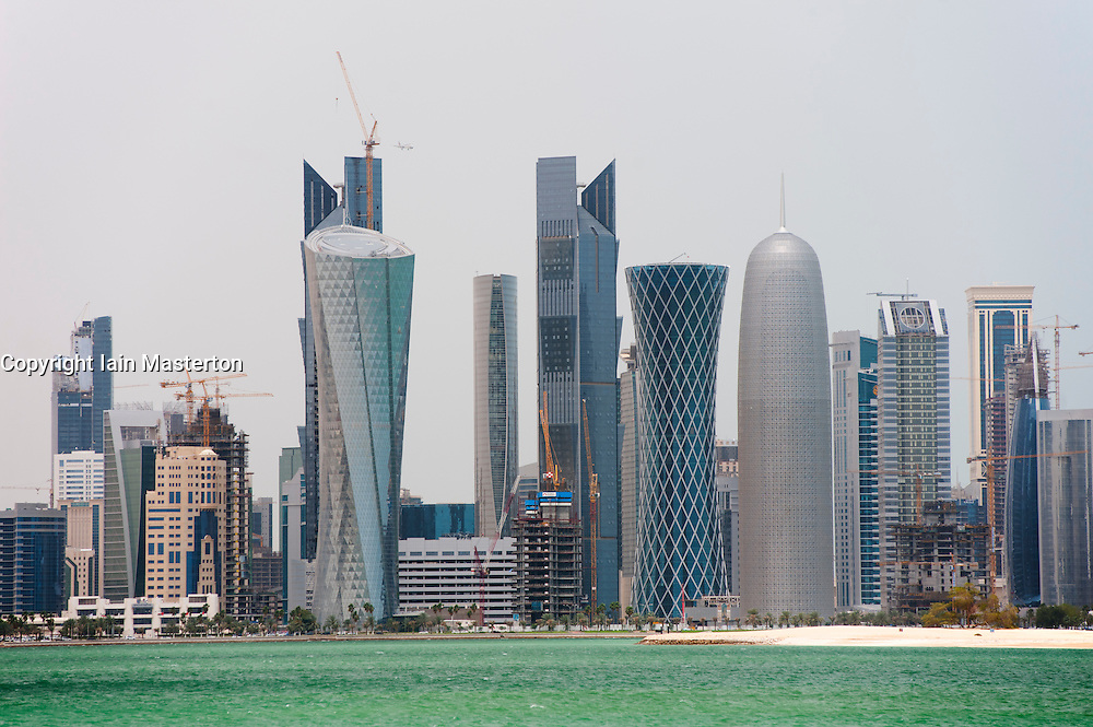 Modern high rise office towers form skyline of Doha in Qatar