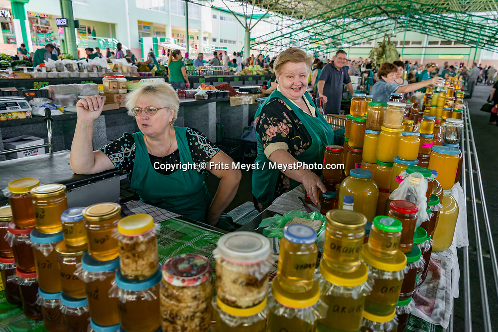 Tiraspol, Transnistria, June 2019. City market of Tiraspol. Transnistria, or Transdniestria, officially the Pridnestrovian Moldavian Republic, is an unrecognised state that split off from Moldova after the dissolution of the USSR in 1993 and mostly consists of a narrow strip of land between the river Dniester and the territory of Ukraine. Photo by Frits Meyst / MeystPhoto.com