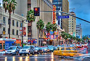 Hollywood, CA, Hollywood Blvd, Highland, El Capitan, wet, Dusk reflections, tourist, attractions, Los Angeles, Ca,