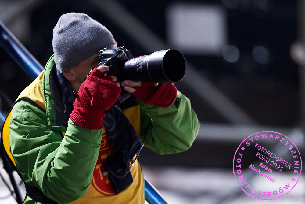 Photographer Piotr Hawalej (Wrofoto Agency) shoots pictures  during FIS World Cup Ski Jumping competition in Zakopane, Poland on January 17, 2015.<br /> <br /> Poland, Zakopane, January 17, 2015.<br /> <br /> Picture also available in RAW (NEF) or TIFF format on special request.<br /> <br /> For editorial use only. Any commercial or promotional use requires permission.<br /> <br /> Mandatory credit:<br /> Photo by &copy; Adam Nurkiewicz / Mediasport