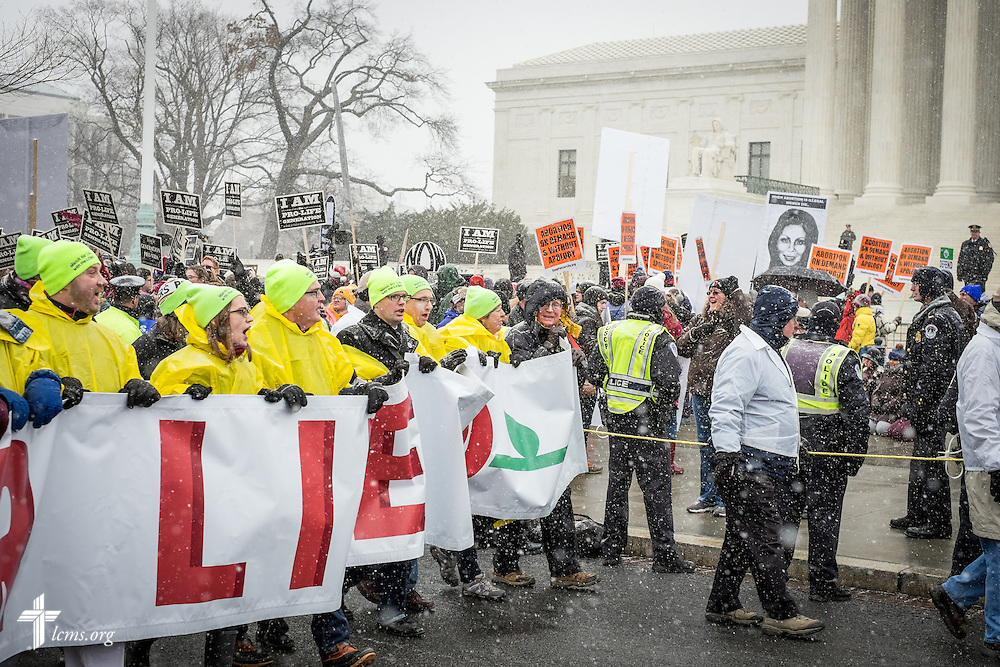 Lutherans march past counter-protestors at the 2016 March for Life on Friday, Jan. 22, 2016, in Washington, D.C. Michael Schuermann for LCMS Communications