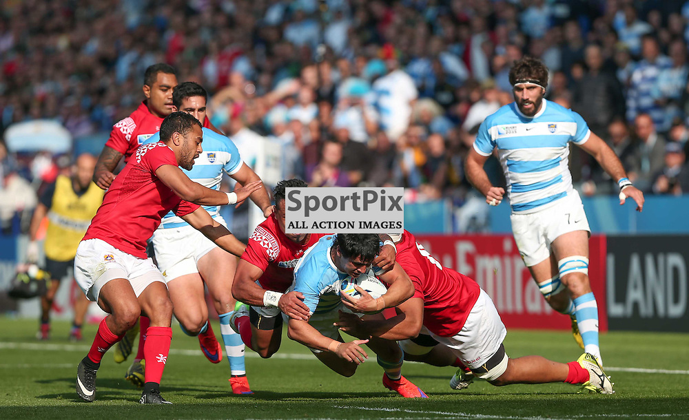 Tonga defend their line against Matias Moroni during the Rugby World Cup Argentina v Tonga, Sunday 04 October 2015, Leicester City Stadium, Leicester, England Stadium (Photo by Mike Poole - SportPix)