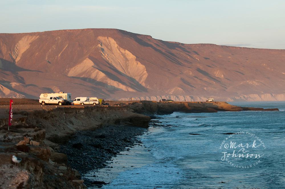 Camping on the cliffs at Punto San Carlos, Baja California, Mexico