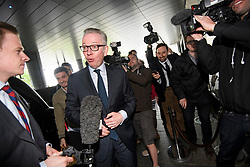© Licensed to London News Pictures. 15/06/2019. London, UK. Leadership candidate MICHAEL GOVE MP is seen arriving at a leadership hustings in Westminster, central London. Former Foreign Secretary and figurehead of the leave campaign, Boris Johnson has cemented his position as favourite to become the next Prime Minster after winning a landslide in the first round of the conservative party's leadership race. Photo credit: Ben Cawthra/LNP