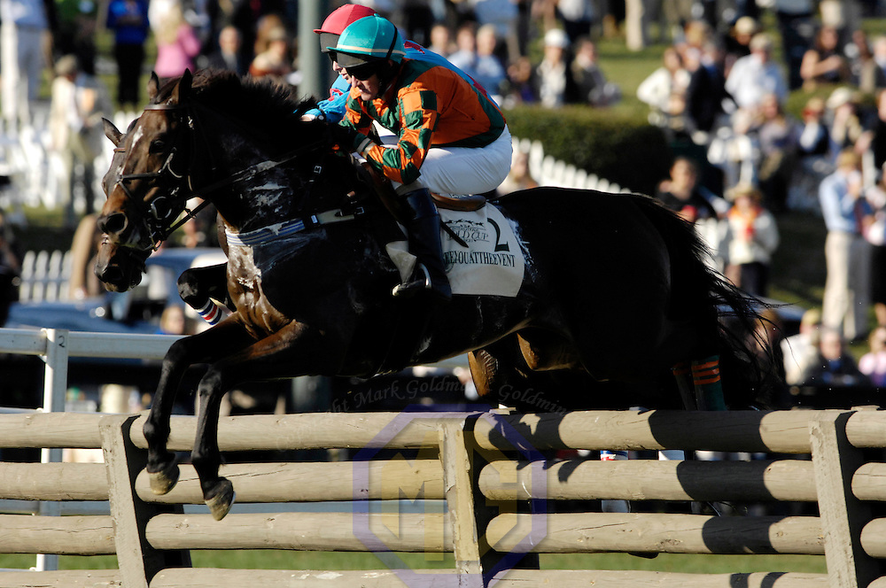 20 October 2007:  Jockey Robert Walsh aboard Seeyouattheevent clears a timber hurdle in the $50,000 Porsche International Gold Cup during the 70th running of the International Gold Cup Races on October 20, 2007 at the Great Meadow in The Plains, Va.  The race was won by See youattheevent (2) ridden by Robert Walsh with Shadyvalley (6) ridden by Russell Haynes and Woodmont (5) with Jeff Murphy aboard finishing 2nd and 3rd.