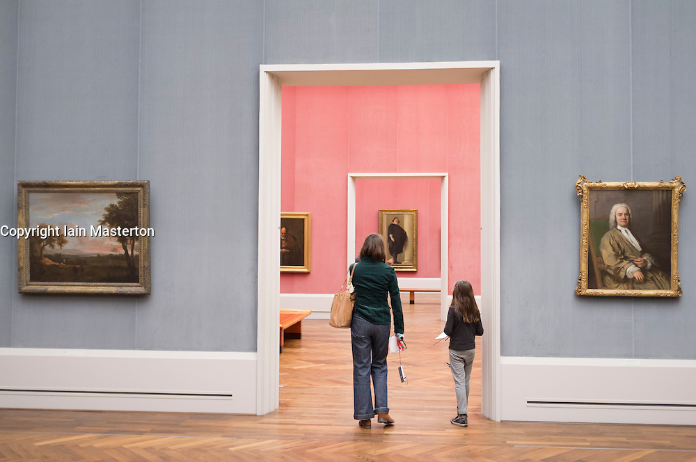 interior of Gemaldegalerie at Kulturforum in Berlin Germany