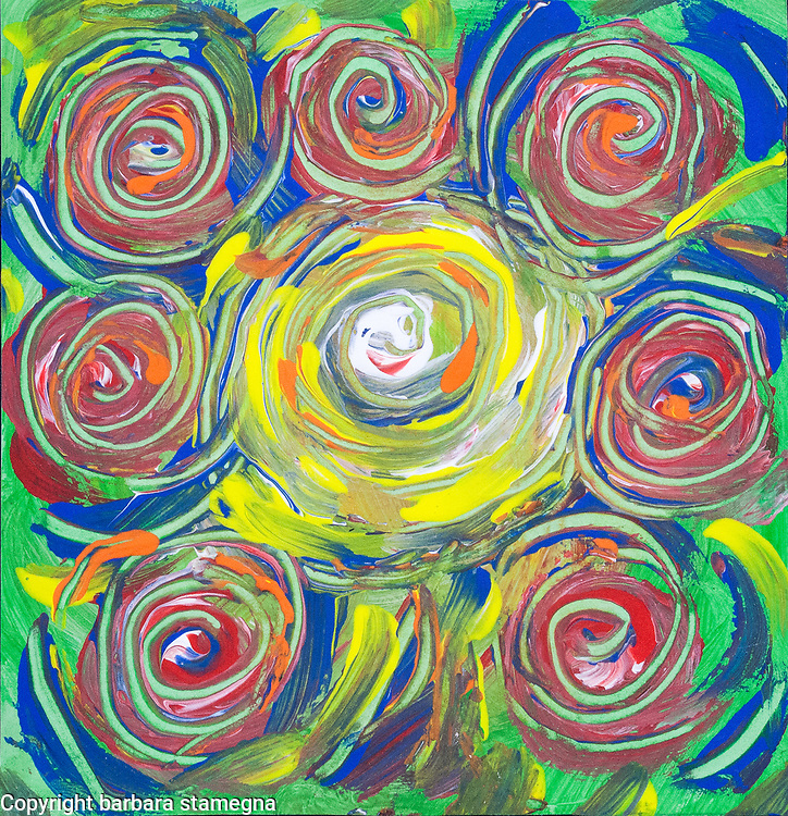 Colored whirlpool shapes abstract image with concentric lines and spots of color in tones of red, yellow, green, blue, orange and white colors.