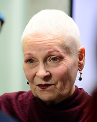 Dame Vivienne Westwood debuts her one minute campaign video highlighting the waste of water within the meat industry alongside PETA senior vice president Dan Mathews at Tibits, London, United Kingdom. Tuesday, 18th March 2014. Picture by Nils Jorgensen / i-Images