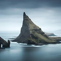 Lítli Drangur, Stóri Drangur and Tindhólmur, Sørvágsfjørður fjord, Vágoy