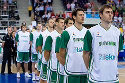 Jurica Golemac and Erazem Lorbek during the EuroBasket 2009 Group F match between Slovenia and Lithuania, on September 12, 2009 in Arena Lodz, Hala Sportowa, Lodz, Poland.  (Photo by Vid Ponikvar / Sportida)