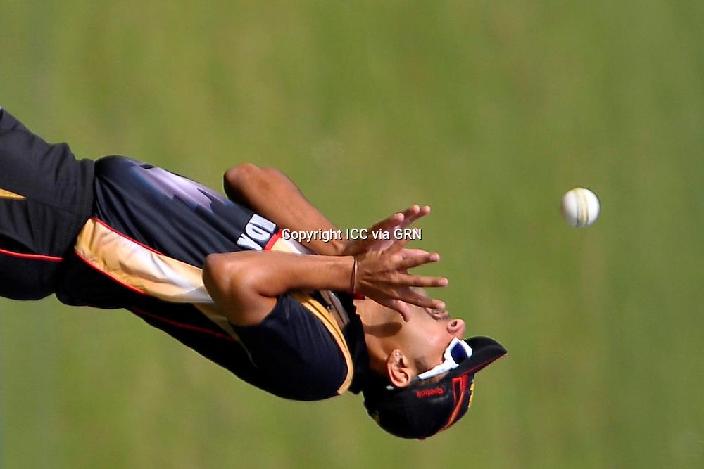 Canada's Harvir Baidwain takes the catch at the ICC World Twenty20 Qualifier UAE 2012. Pix ICC/Thusith Wijedoru
