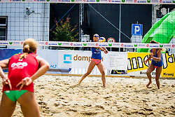 Erika Fabjan of Sberbank, Monika Potokar of Sberbank and Jelena Pesic of team Ana in Jelena during Qlandia Beach Challenge 2015 and Beach Volleyball Slovenian National Championship 2015, on July 25, 2015 in Kranj, Slovenia. Photo by Ziga Zupan / Sportida