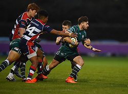 James Newey of Bristol United tackles Ben Ransom of London Irish 'A' - Mandatory by-line: Paul Knight/JMP - 22/09/2017 - RUGBY - Clifton RFC - Bristol, England - Bristol United v London Irish 'A' - Aviva A League