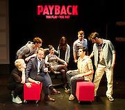 Payback - The Musical <br /> by Paul Rayfield<br /> at Riverside Studios, London, Great Britain <br /> press photocall <br /> 13th June 2013 <br /> <br /> Katie Bernstein as Isabel<br /> Sarah Earnshaw as Sam<br /> Adam Flynn as Joe<br /> Matthew White as Matt Matthews<br /> James Yeoburn as Guilherme<br /> Holly Brennan as Verity<br /> Georgie Freeman as Melanie<br /> Chris Kiely as Steve<br /> Douglas Rutter as Harry <br /> Roger Woods as John <br /> Annalene Beechey as Sarah <br /> Felicity McCormack as Chanel<br /> Mr & Mrs Beechey - Phil & Betty <br /> Steven O'Neill as Minister<br /> <br /> Photograph by Elliott Franks