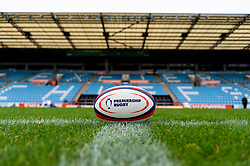 A Premiership Rugby Cup ball on the pitch - Mandatory by-line: Ryan Hiscott/JMP - 12/10/2019 - RUGBY - Sandy Park - Exeter, England - Exeter Chiefs v Bristol Bears - Premiership Rugby Cup