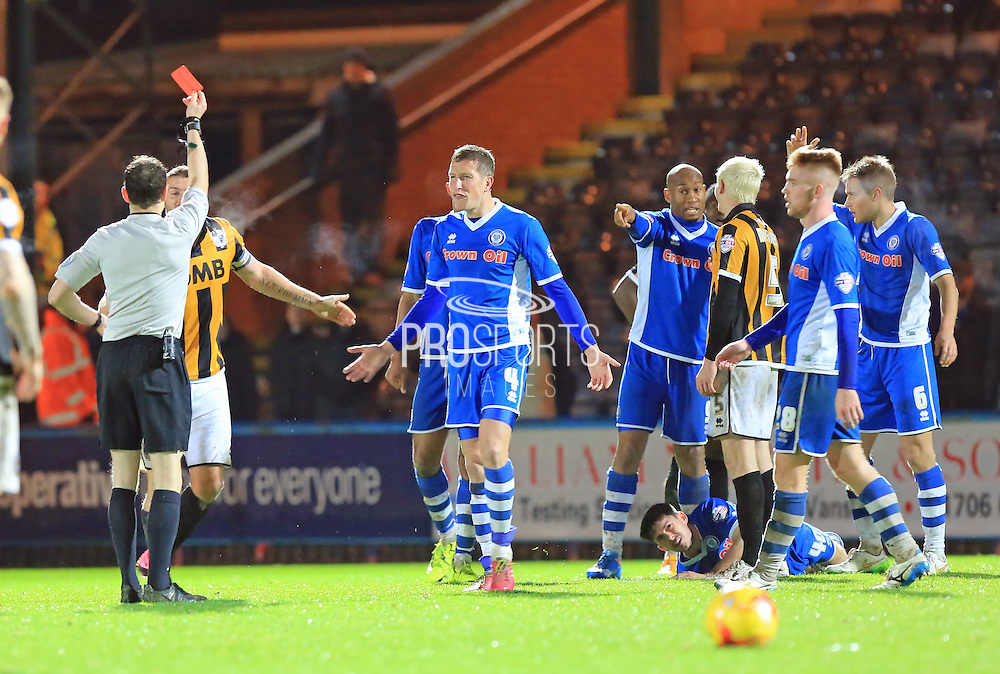 Carl Dickinson sent off during the Sky Bet League 1 match between Rochdale and Port Vale at Spotland, Rochdale, England on 28 November 2015. Photo by Daniel Youngs.