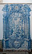 Painted blue tiles at the Convent of Saint Peter of Alcantara (Convento de Sao Pedro de Alcantara), Bairro Alto, Lisbon, Portugal