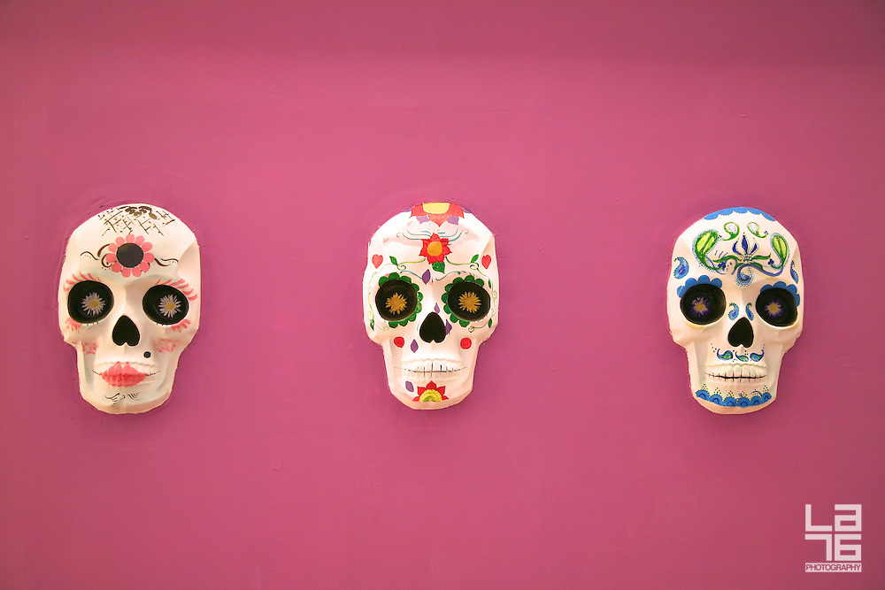 Colorful Mexican skulls designed for the celebrations of the Day of the Dead (El Día de Los Muertos).