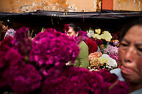 A woman walks past flower venders during Dia de los Muertos at Cementario General, in Guatemala City, Guatemala, on Tuesday, Nov. 1, 2011. Many Guatemalans seek solace from violence in religion.