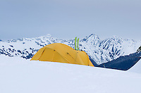 Winter backcountry campsite in the North Cascades, Washington